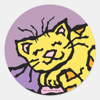 Cute Kitty Cat Kids Birthday Party Classic Round Sticker
