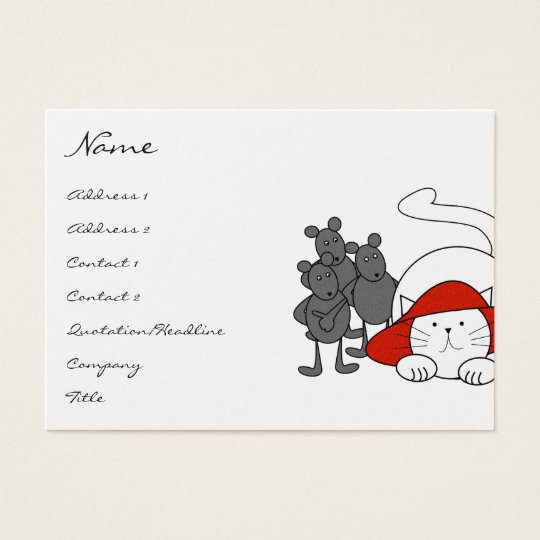 Cute Kitty Cat Mice Business Cards Red Hat