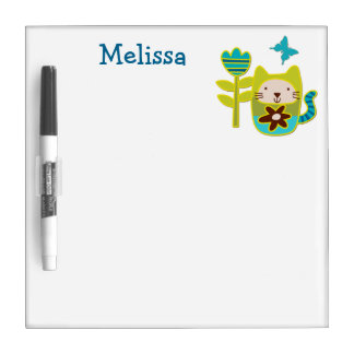 Cute Kitty Cat Personalized Kids Dry-Erase Boards