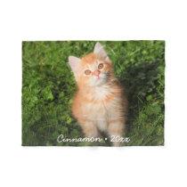 Cute Kitty Cat Personalized Pet Photo Custom Fleece Blanket