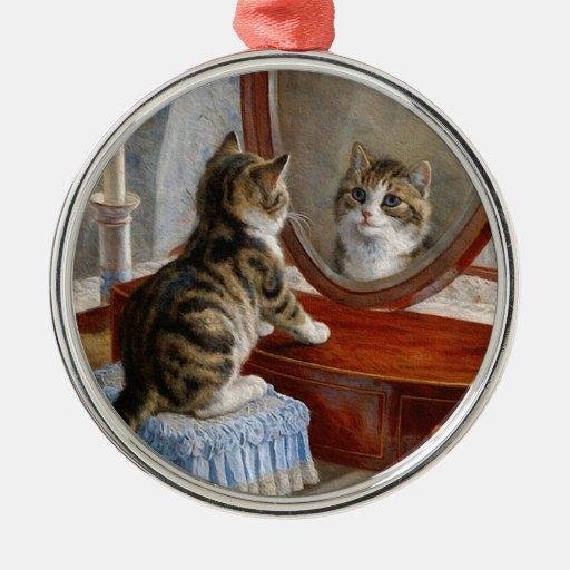 Cute Kitty Cat Vintage Art Round Metal Christmas Ornament
