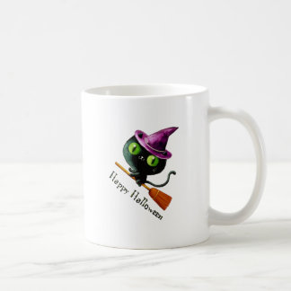 Cute kitty cat witch on broom mugs
