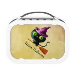 Cute kitty cat witch on broom yubo lunch boxes