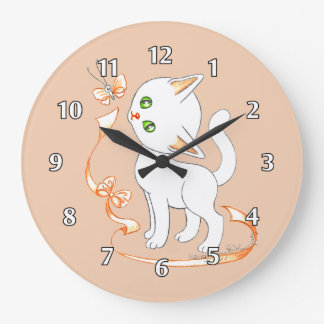 Cute Kitty Cat With Butterfly and Ribbon Wall Clocks
