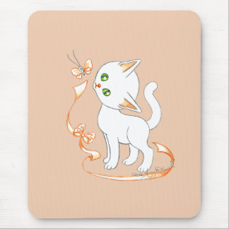 Cute Kitty Cat With Butterfly and Ribbon Mouse Pad