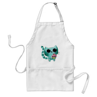 Cute Kitty Cat with Kawaii Cupcake Adult Apron