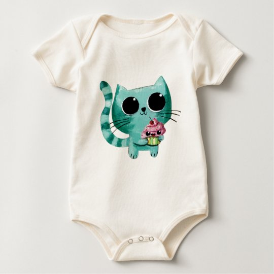 Cute Kitty Cat with Kawaii Cupcake Baby Bodysuit