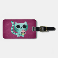 Cute Kitty Cat With Kawaii Cupcake Bag Tag at Zazzle