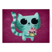 artsprojekt, cute cat, kawaii cat, illustration cat, kawaii cupcake, cute cat gift, kawaii, cat, cupcake, pet, cute pet, animal, cute animal, cute, kawaii pet, kawaii animal, cat gift, cat present, kawaii gift, kawaii present, children illustraton, illustration, children, kid, kids, Cartão com design gráfico personalizado