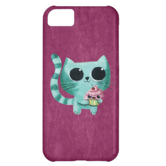 Cute Kitty Cat with Kawaii Cupcake iPhone 5C Cases
