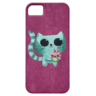 Cute Kitty Cat with Kawaii Cupcake iPhone 5 Case