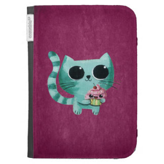 Cute Kitty Cat with Kawaii Cupcake Kindle 3 Cases