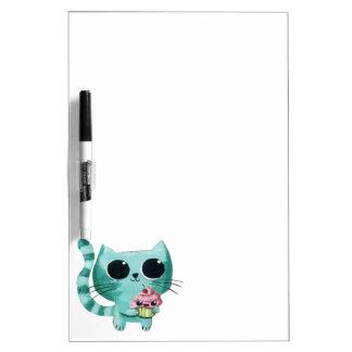 Cute Kitty Cat with Kawaii Cupcake Dry-Erase Board