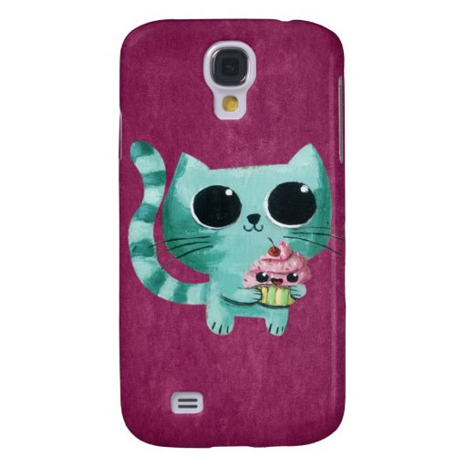 Cute Kitty Cat with Kawaii Cupcake Galaxy S4 Case