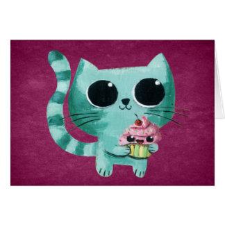 Cute Kitty Cat with Kawaii Cupcake Greeting Cards