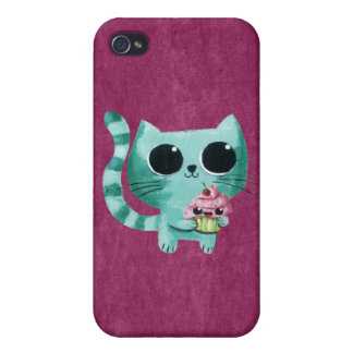 Cute Kitty Cat with Kawaii Cupcake Cover For iPhone 4