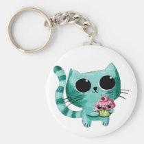 artsprojekt, cute cat, kawaii cat, illustration cat, kawaii cupcake, cute cat gift, kawaii, cat, cupcake, pet, cute pet, animal, cute animal, cute, kawaii pet, kawaii animal, cat gift, cat present, kawaii gift, kawaii present, children illustraton, illustration, children, kid, kids, Keychain with custom graphic design