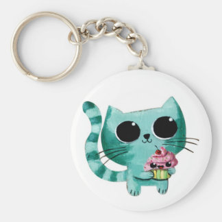 Cute Kitty Cat with Kawaii Cupcake Keychain