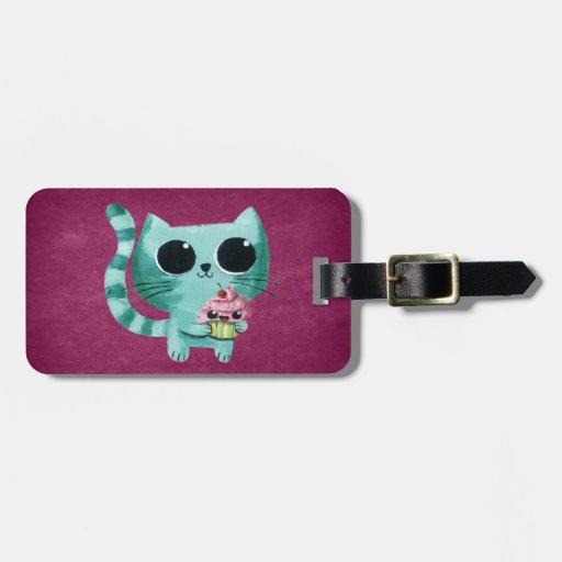Cute Kitty Cat with Kawaii Cupcake Luggage Tag