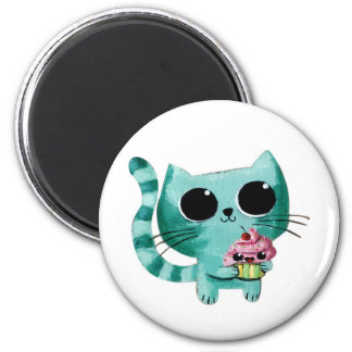 Cute Kitty Cat with Kawaii Cupcake 2 Inch Round Magnet