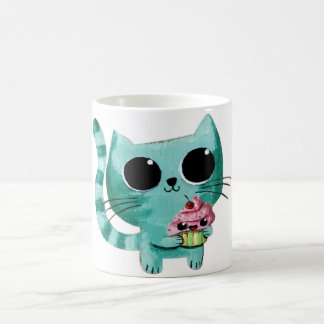 Cute Kitty Cat with Kawaii Cupcake Classic White Coffee Mug