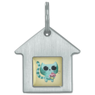 Cute Kitty Cat with Kawaii Cupcake Pet ID Tag