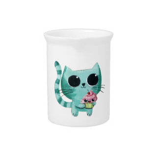 Cute Kitty Cat with Kawaii Cupcake Drink Pitcher