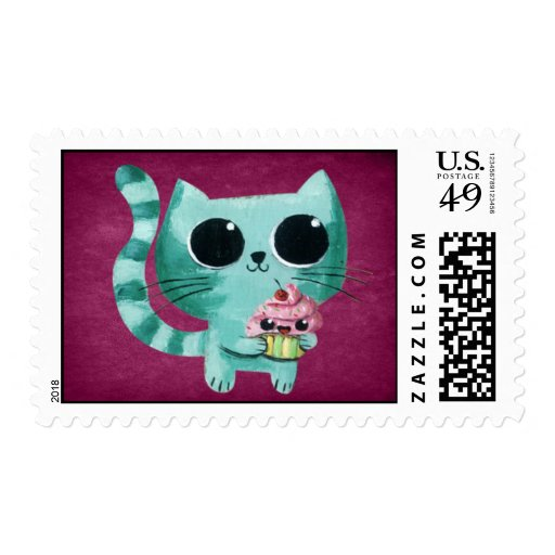 Cute Kitty Cat with Kawaii Cupcake Postage Stamps
