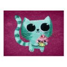 Cute Kitty Cat with Kawaii Cupcake Postcard