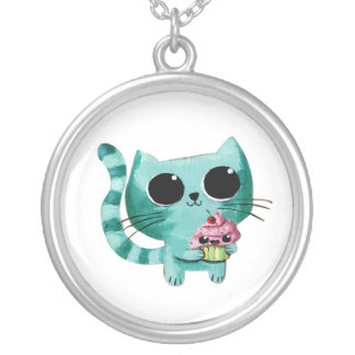 Cute Kitty Cat with Kawaii Cupcake Silver Plated Necklace