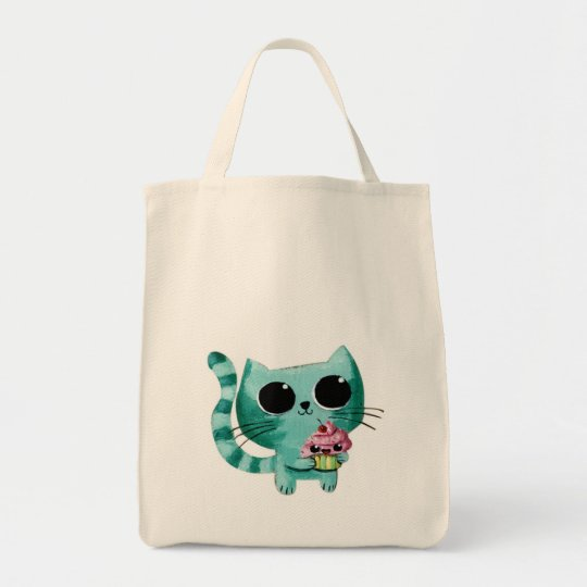 Cute Kitty Cat with Kawaii Cupcake Tote Bag