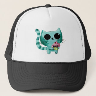 Cute Kitty Cat with Kawaii Cupcake Trucker Hat
