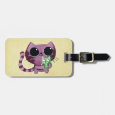 Cute Kitty Cat With Little Green Monster Bag Tag at Zazzle