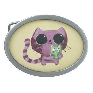 Cute Kitty Cat with Little Green Monster Oval Belt Buckle