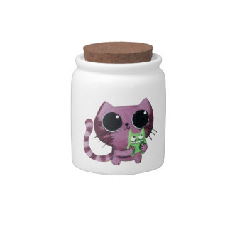 Cute Kitty Cat with Little Green Monster Candy Dishes
