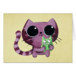 Cute Kitty Cat with Little Green Monster Card