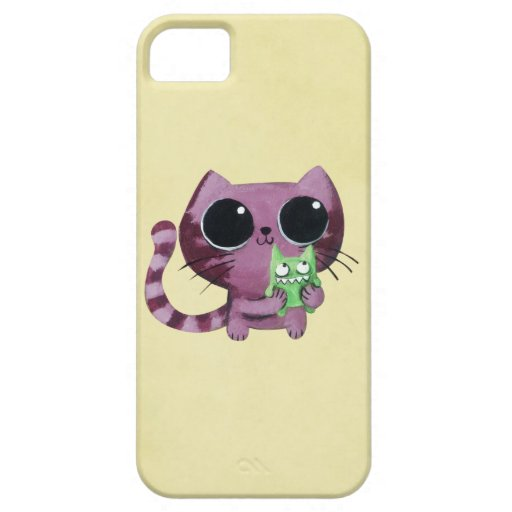 Cute Kitty Cat with Little Green Monster iPhone 5 Cases