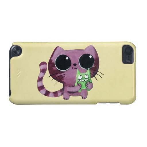 Cute Kitty Cat with Little Green Monster iPod Touch 5G Covers