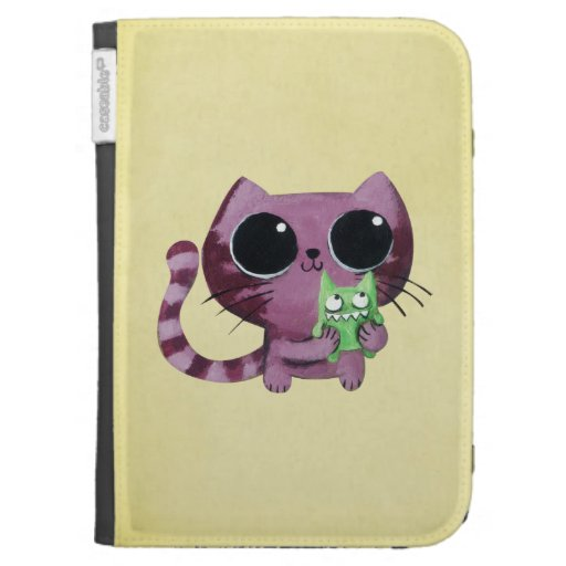 Cute Kitty Cat with Little Green Monster Kindle Keyboard Cases