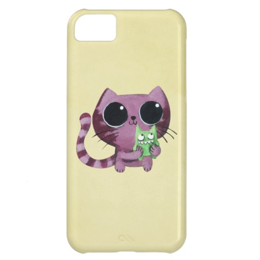 Cute Kitty Cat with Little Green Monster iPhone 5C Cases