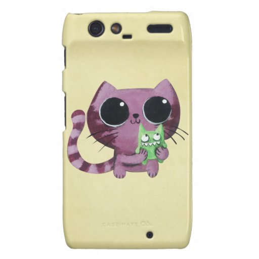 Cute Kitty Cat with Little Green Monster Motorola Droid RAZR Cases