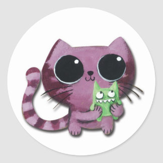 Cute Kitty Cat with Little Green Monster Classic Round Sticker