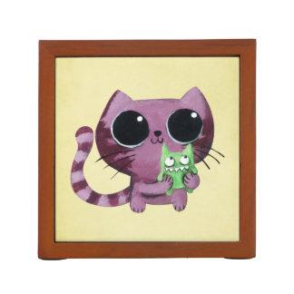 Cute Kitty Cat with Little Green Monster Desk Organizer