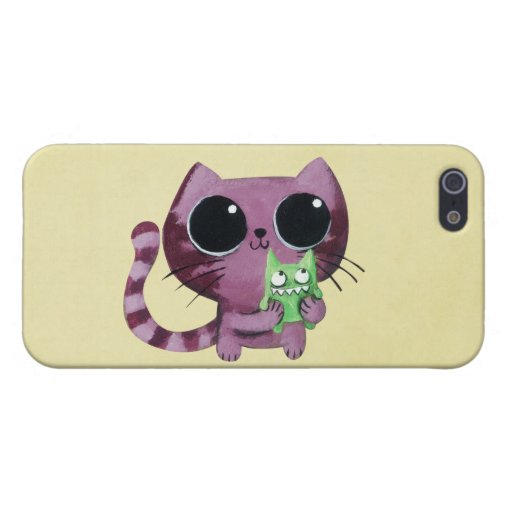 Cute Kitty Cat with Little Green Monster iPhone 5 Cover