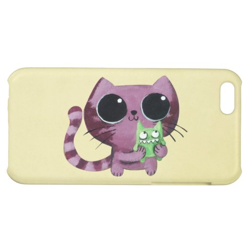 Cute Kitty Cat with Little Green Monster iPhone 5C Covers