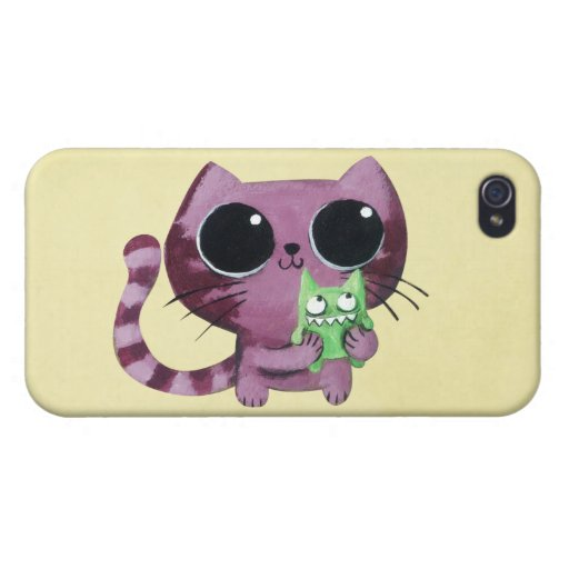 Cute Kitty Cat with Little Green Monster Cover For iPhone 4