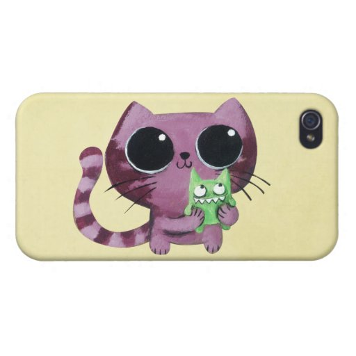 Cute Kitty Cat with Little Green Monster Covers For iPhone 4