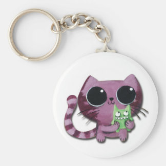 Cute Kitty Cat with Little Green Monster Keychain