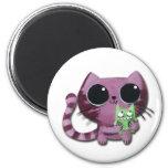 Cute Kitty Cat with Little Green Monster Fridge Magnets