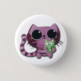 Cute Kitty Cat with Little Green Monster Pinback Button